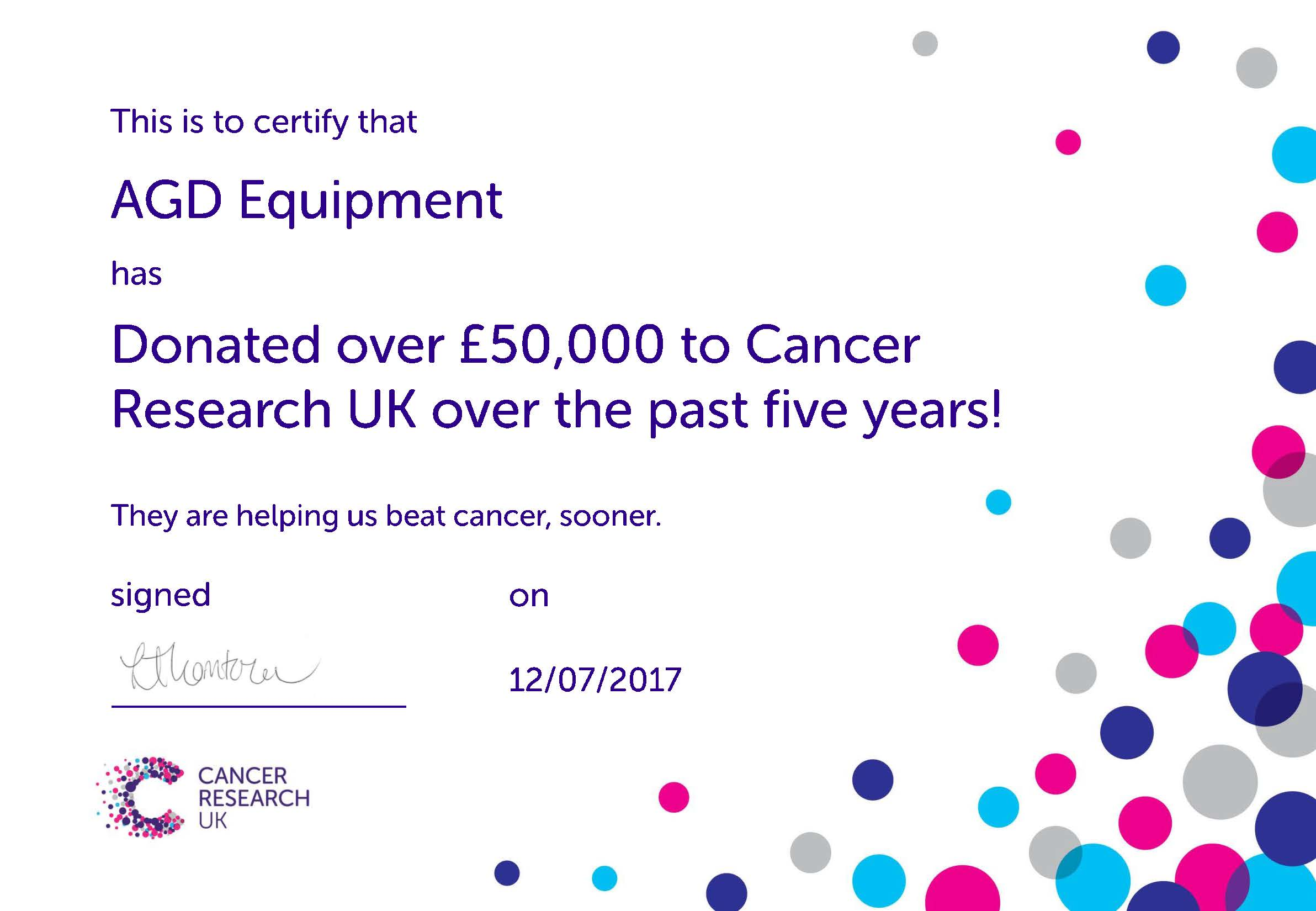 Cancer Research certificate of donation