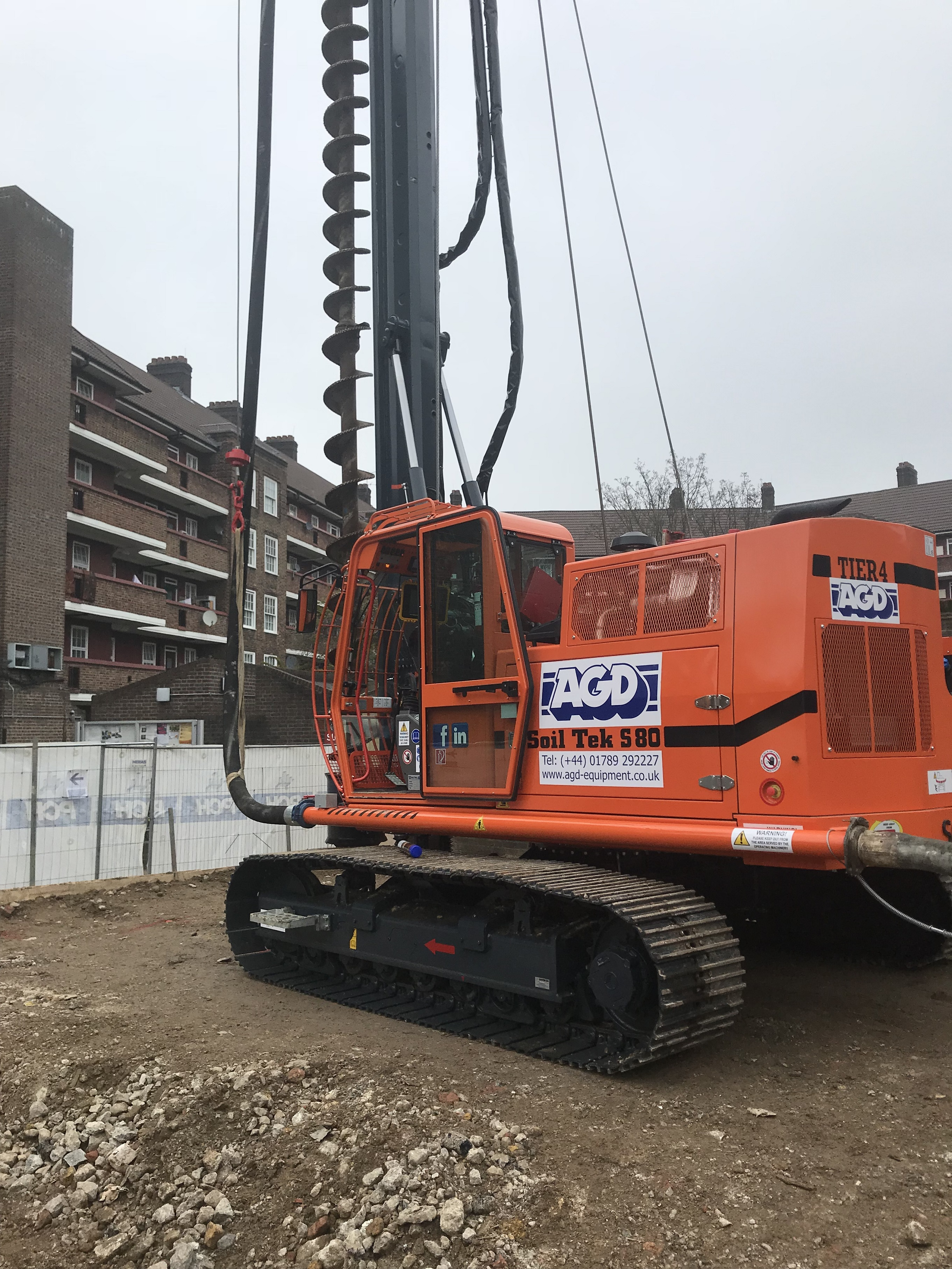 Soiltek S80 compact CFA piling rig for hire